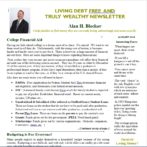 Living Debt Free And Truly Wealthy Newsletter – Aug 2016