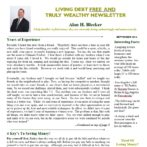 Living Debt Free And Truly Wealthy Newsletter – Sept 2016